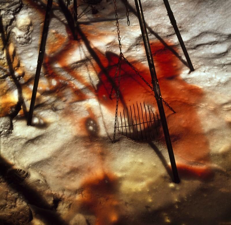 Mittelformatdia 6x6 Bilderfolge open Pentagon, Serie Schneebrand, Lightpainting in den Schnee