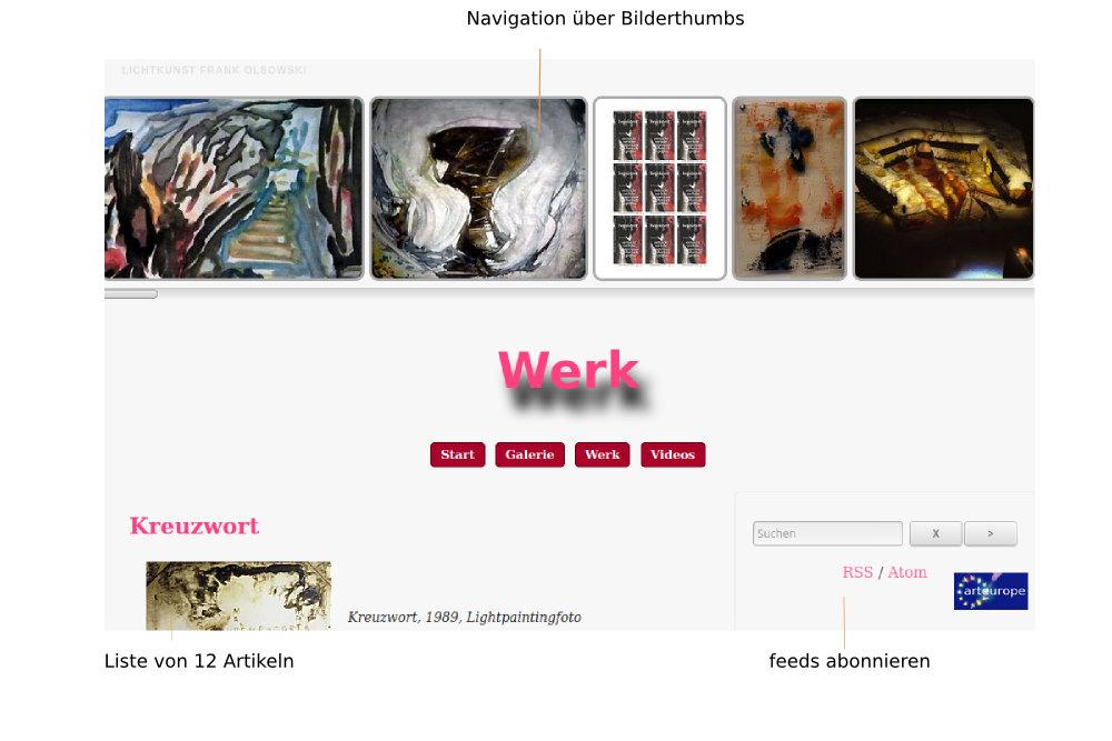 Screenshot der Werk-Seite oben