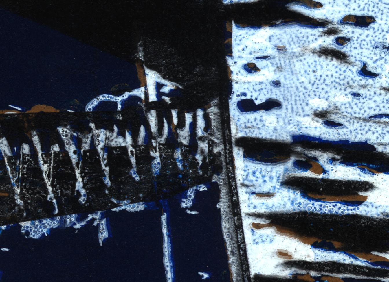 Detail aus Siebdruck 'Gekippter Katamaran'