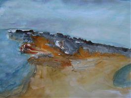 Aquarellskizze Landschaft am Meer